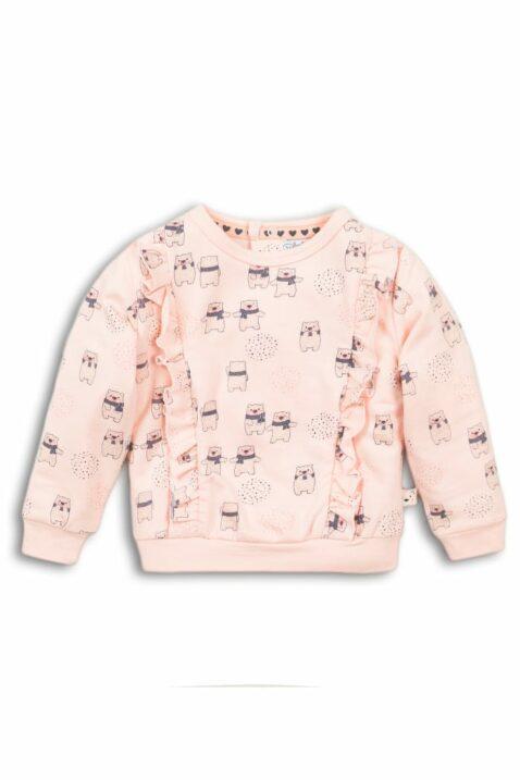 Baby Sweatshirt in Rosa Kinder Pullover mit Rüschen & Bären Tiermotiv Oberteil für Mädchen mit breiten Bündchen - Rundhalsausschnitt Longsleeve von DIRKJE - Vorderansicht