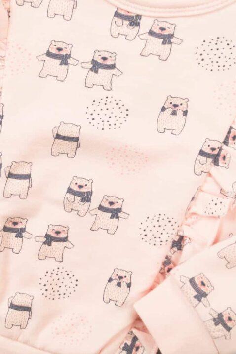 Baby Mädchen Pullover in Rosa Baby Sweatshirt mit Bärenmotiv schwarz fröhlich & Punkte Kinder Sweatpullover mit breiten Bündchen Babypulli von DIRKJE - Detailansicht