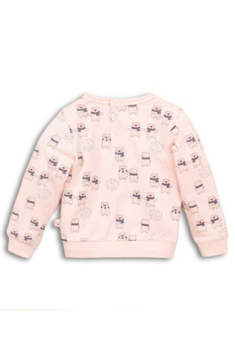 Baby Sweatpullover in Rosa Langarmshirt mit Tiermotiv Bärchen Oberteil mit Rüschen & breite Bündchen für Mädchen - Rundhalsausschnitt Kinderpullover von DIRKJE - Rückansicht