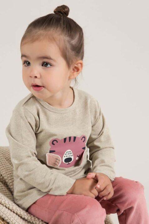 Baby Sweatpullover in Beige Langarmshirt mit rosa Tiermotiv Tiger Longsleeve mit Bündchen für Mädchen & Babyhose altrosa von DIRKJE - Babyfoto Kinderfoto
