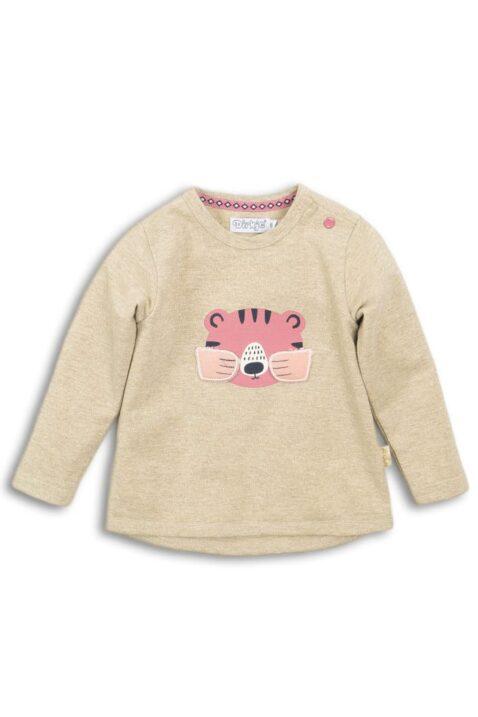 Baby Sweatshirt Kinder Pullover mit Lurex in beige mit Tiermotiv Tiger in rosa Pfoten-Applikation & Bündchen für Mädchen - Rundhalsausschnitt Longsleeve von DIRKJE - Vorderansicht