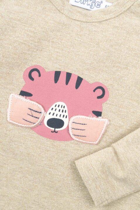 Baby Mädchen Pullover mit Lurex in Beige Kinder Sweatshirt mit Rundhalsausschnit Sweatpullover mit Tiermotiv Tiger & Pfoten-Applikation Verstecken-Spielen von DIRKJE - Detail