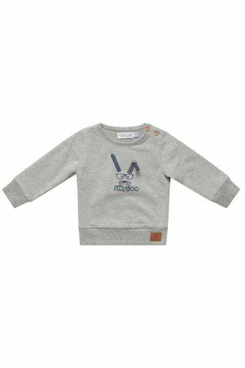 Baby Sweatshirt Kinder Pullover in grau mit blauem Hasen Peekaboo Ohren-Applikation & breiten Rippbündchen für Jungen - Rundhalsausschnitt Longsleeve von DIRKJE - Vorderansicht