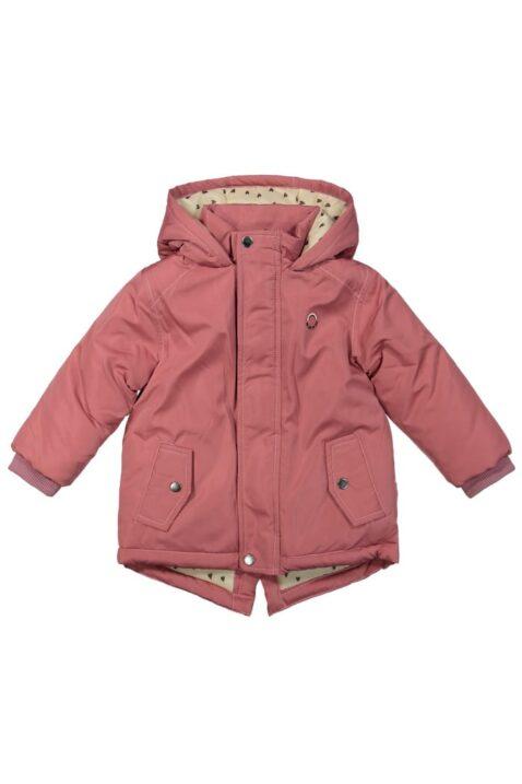 Baby rosa Winterjacke mit warmem Herzen Futter in Cremefarben, Rippbündchen & Druckknöpfe - Kinder Parka mit Kapuze für Mädchen von DIRKJE - Vorderansicht