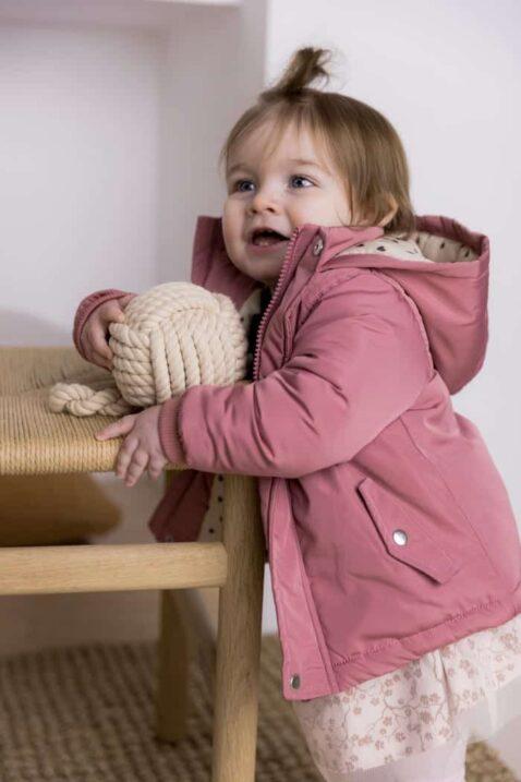 Warmer Baby Mantel in Altrosa mit Herzen Futter in Beige + hellrosa Tüllrock mit Blümchen - Kinder Jacke für Mädchen von DIRKJE - Babyfoto Kinderfoto
