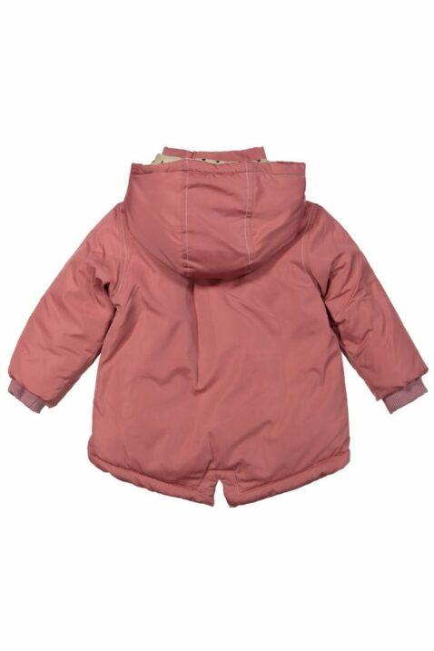 Mädchen Baby Jacke Winter in Rosa mit Kapuze + Herzen Futter in Cremefarben, Rippbündchen und Druckknöpfe - Kinder Mantel von DIRKJE - Rückansicht
