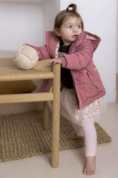 Baby Parka für Mädchen in Rosa mit beigem Futter plus Herzen-Muster + Tüllrock mit Blumen + Basic Leggings in Hellrosa – Kinderjacke von DIRKJE - Babyfoto Kinderfoto