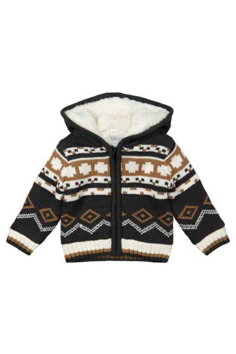 Warme Baby Strickjacke im Norwegerstil dunkelgrau braun gestrickt Kinderjacke für den Winter mit weißem Fellimitat und Kapuze für Jungen von DIRKJE - Vorderansicht