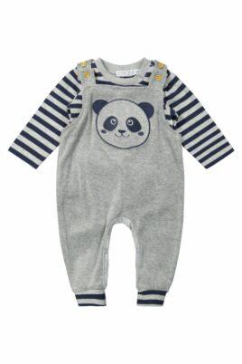 DIRKJE Jungen Baby 2er-Set in Grau-Blau mit Tiermotiv Panda Velours Kinder Oberteil langarm  – Latzhose Sweathose unifarben mit breiten gestreiften Rippbündchen – Vorderansicht