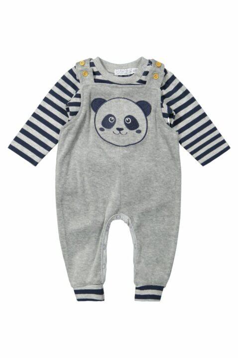 Jungen Baby 2er-Set in Grau-Blau mit Tiermotiv Panda Velours Kinder Oberteil langarm - Latzhose Sweathose unifarben mit breiten gestreiften Rippbündchen von DIRKJE - Vorderansicht