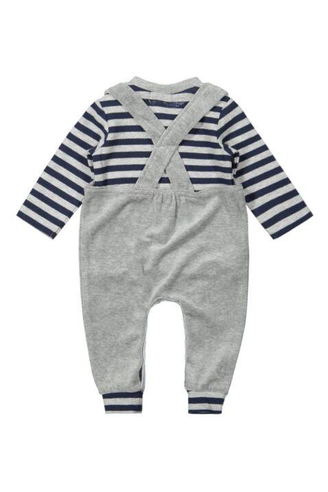 Baby Set zweiteilig für Jungen in Hellgrau mit Panda-Motiv dunkelblau-grau gestreiftes Longsleeve - unifarbene Kinder Latzhose Trägerhose mit breiten Rippbündchen von DIRKJE - Rückansicht