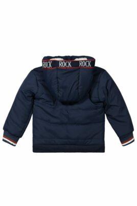 Jungen Baby Jacke für den Winter in Blau mit Kapuze und Fellimitat in Weiß, Rippbündchen und Reißverschluss - Kinder Steppjacke von DIRKJE - Rückansicht
