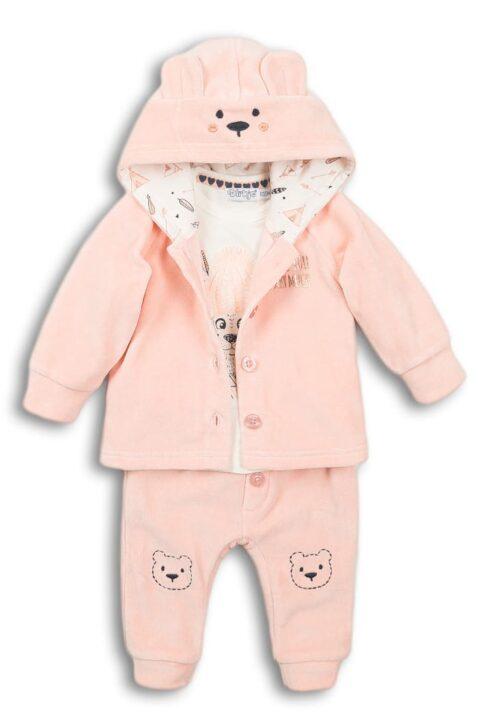 Mädchen 3er-Set Baby Velours in Rosa mit Tiermotiv Bär Babyjacke mit Kapuze - Kinder Oberteil langarm cremefarben - Leggings unifarben mit breiten Bündchen von DIRKJE - Vorderansicht