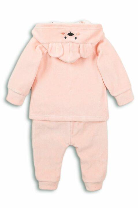 Baby Set dreiteilig für Mädchen in Rosa mit Bärchen-Motiv Babyjacke mit Kapuze für den Winter - Sweatshirt langarm mit Druck - Kinder Leggings unifarben mit Bär von DIRKJE - Rückansicht