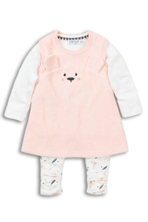 Mädchen Baby 3er-Set aus Velours in Rosa mit Tiermotiv Bär Babykleid mit Applikation - Kinder Oberteil Basic in Weiß - Leggings gemustert & gerafft von DIRKJE - Vorderansicht