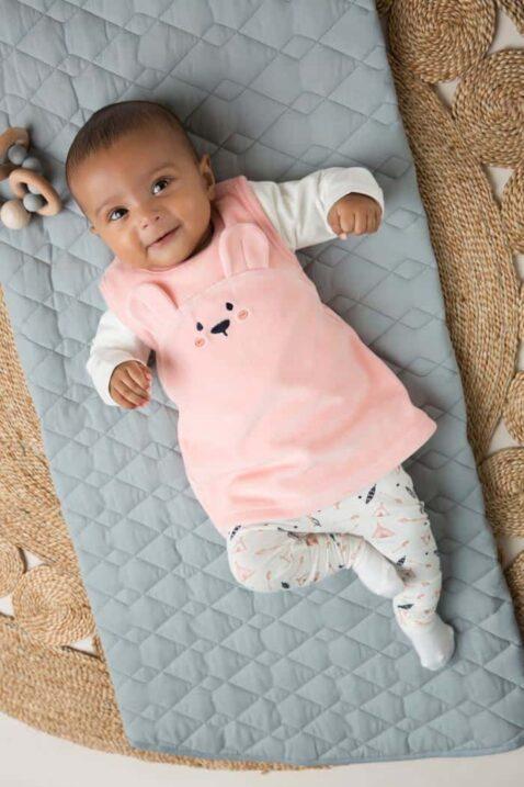 Baby Velours Mädchen 3er-Set in Rosa mit Tiermotiv Bär Babykleid Freizeitkleid mit Bärchen-Applikation - weißes Oberteil - gemusterte Babyhose gerafft von DIRKJE - Babyfoto Kinderfoto