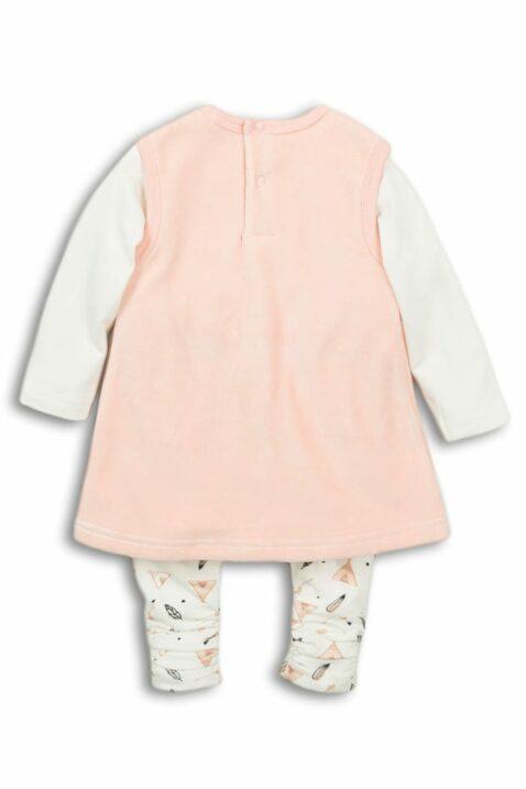 Baby Set dreiteilig für Mädchen in Rosa mit Bärchen-Motiv Baby Winterkleid - Basic Sweatshirt weiß - gemusterte Leggings mit Zelt, Pfeilen, Feder Indianer von DIRKJE - Rückansicht
