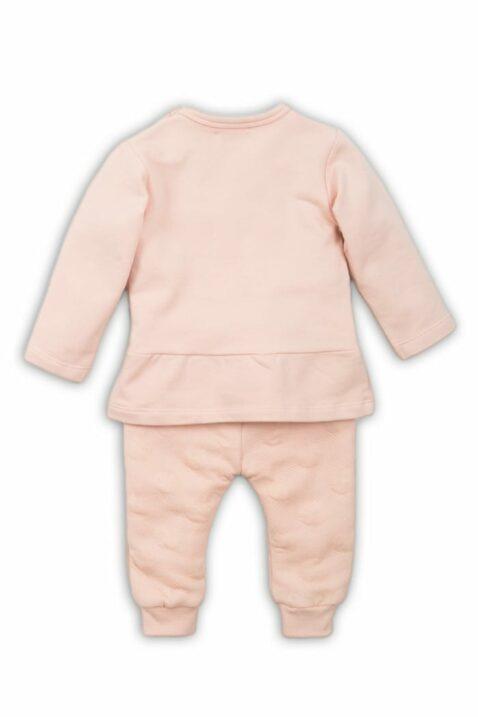 Baby Set zweiteilig für Mädchen in Rosa mit weißem Häschen-Motiv Longsleeve leicht ausgestellt mit Falten & Leggings Sweathose unifarben mit Punkten von DIRKJE - Rückansicht