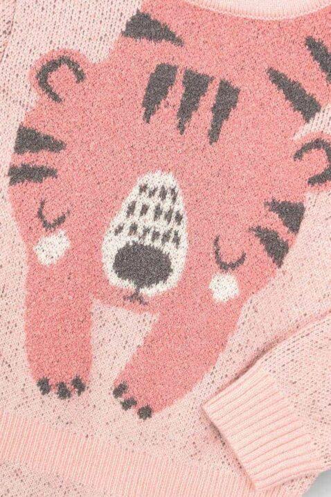 Mädchen rosa Baby Strickkleid knielang mit schlafendem Tiger Tiermotiv friedlich breite Bündchen & Komfortbund in Taille - Langarm Babykleid kuschelig von DIRKJE - Detailansicht