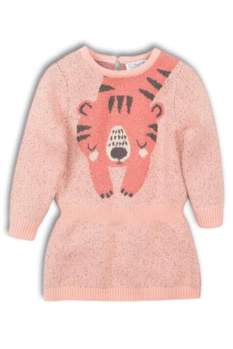 Baby Kleid in Rosa knielang mit Tiger-Motiv, Kinder Strickkleid in Altrosa plus Komfortbund taillert - Baby Langarm-Kleid warm für Mädchen von DIRKJE - Vorderansicht