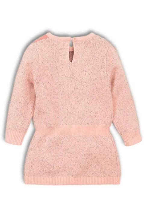 Mädchen Baby Kleid knielang in Rosa mit verspieltem Tiger, mittiger Knopfverschluss mit Schlitz & Komfortbund - Kinder Langarm-Kleid kuschelig von DIRKJE - Rückansicht