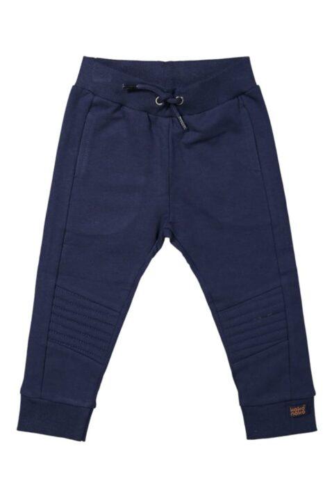 Blaue Baby Kinder Jogginghose Sweathose mit Taschen, Komfortbund, Ziernähte am Knie & Patch Basic - Dunkelblaue Jungen unifarben Schlupfhose von Koko Noko - Vorderansicht