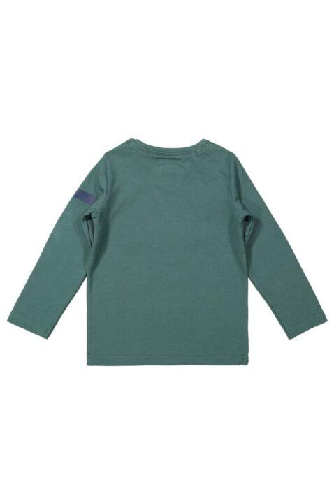 Dunkelgrünes Jungen Baby Longsleeve Shirt mit Print Run On The Wild & Rundhalsausschnitt - Kindershirt Basic Oberteil Pullover grün von Koko Noko - Rückansicht