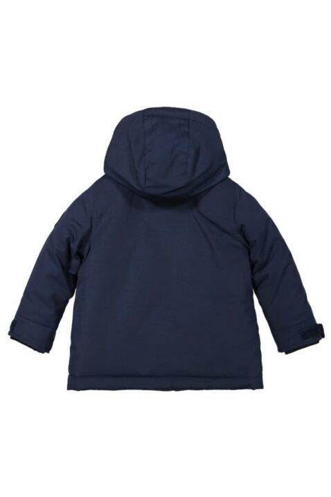 Dunkelblaue Kinder Baby gefütterte Kapuzen Winterjacke mit Taschen im Parka Style für Jungen - Navyblaue warme Babykleidung Babyjacke von Koko Noko - Rückansicht