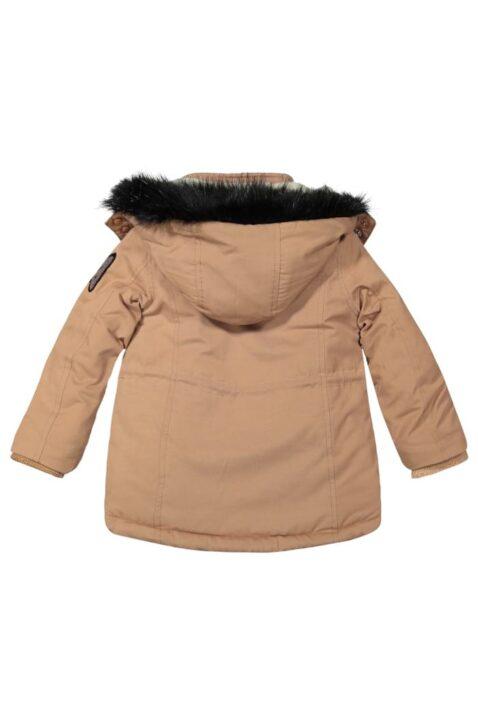 Beige braune Kinder Baby gefütterte Kapuzen Winterjacke mit Taschen mit Kunstfell Borg Futter für Mädchen - Camel warme Babykleidung Babyjacke von Koko Noko - Rückansicht