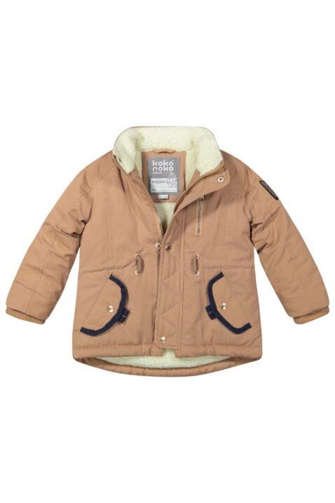 Warme Mädchen Winter Babyjacke mit abnehmbarer Kapuze Kunstfell, Taschen, Reißverschluss - Camel gefütterte Kinderjacke für Herbst & Winter von Koko Noko - Babyfoto Kinderfoto
